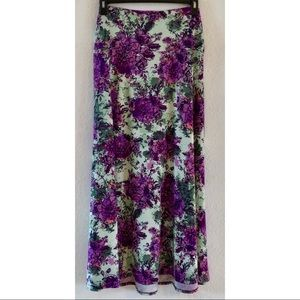 Lularoe Green & Purple Floral Maxi Skirt XL